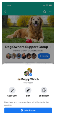 Facebook Links Messenger Rooms to Group Chats and Events