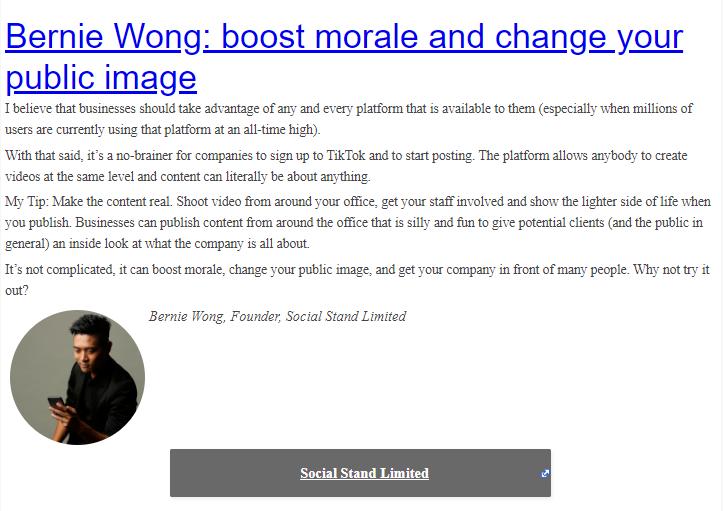 , Bernie Wong's Take on Businesses Using TikTok