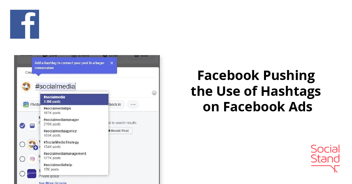 Facebook Pushing the Use of Hashtags on Facebook Ads