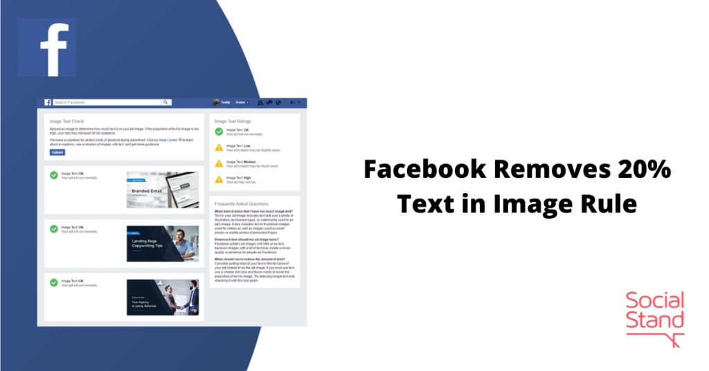 Facebook Removes 20% Text in Image Rule