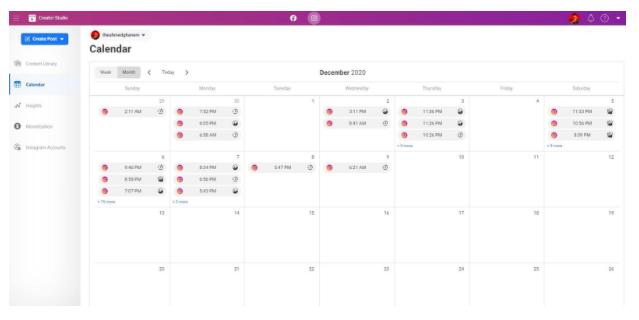 Facebook Tests Instagram Content Calendar on Creator Studio