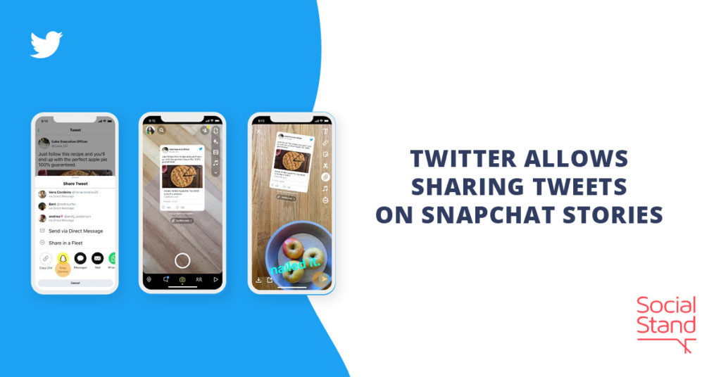 Twitter Allows Sharing Tweets on Snapchat Stories