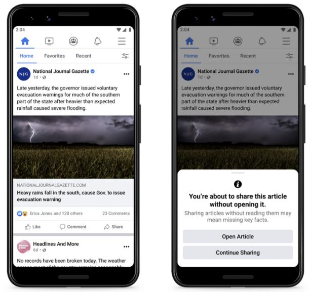 Facebook Tests Warnings to Stop Sharing Unread Links