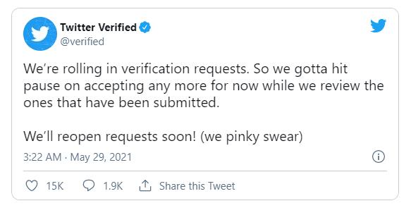 Twitter Temporarily Halts Profile Verification