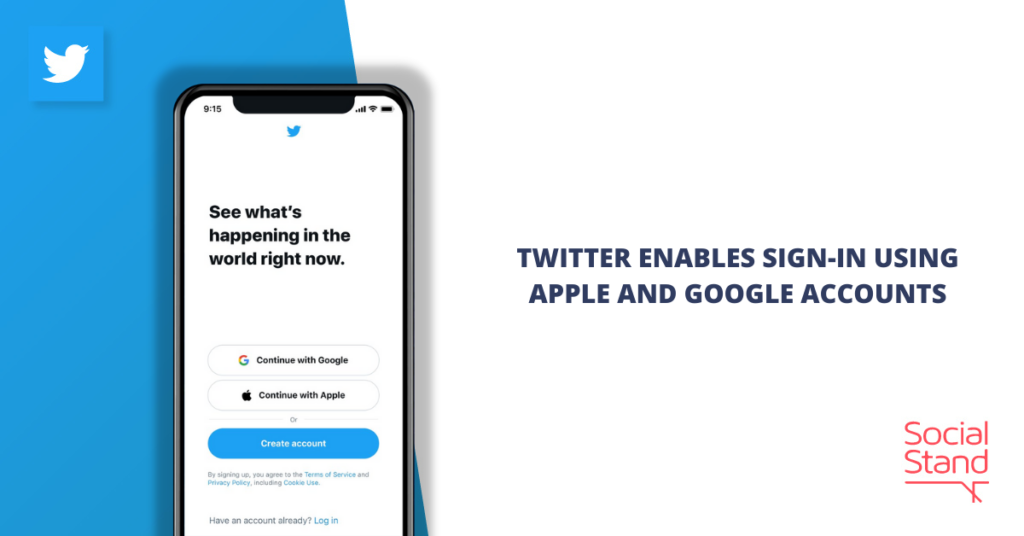 Twitter Enables Sign-In Using Apple and Google Accounts